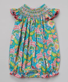 Aqua Paisley Bubble Romper - Infant & Toddler | Daily deals for moms, babies and kids