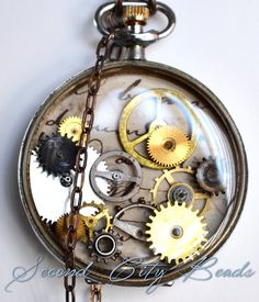 Steampunk necklace steampunk jewelry Vintage by SecondCityBeads, $50.00