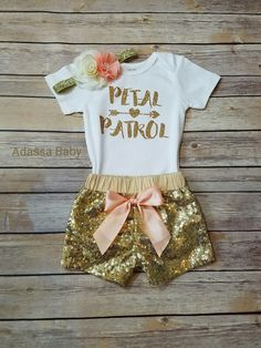 Peach and gold Petal Patrol outfit. Perfect for your special flower girls to wear at your wedding rehearsal dinner or pre wedding photo sessions. This listing is for a flower headband, Petal Patrol Sh