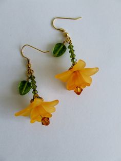 Spring Daffodils Double Flower Dangle Earrings by lesly on Etsy, $25.00