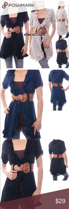 Ruffled tunic top long cover up belted Navy blue SEXY & Comfy,retro vinatge style shirt/top.ruffled edges ,open fornt with one front buttton clourse .loops with embellished button for belt.belt shown in photo is included ,CAMI IS NOT PART OF THE TOP.   They are Made of non stretchy light weight fabric(100% rayon). Tops Tunics