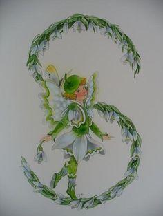 Snowdrop Fairy with green acorn cap beret/ Schneeglöckchen-Elfchen  von Christl Vogl