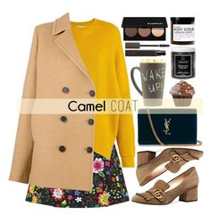 """Wear a camel coat!"" by alaria ❤ liked on Polyvore featuring Victoria, Victoria Beckham, STELLA McCARTNEY, MSGM, Gucci, Yves Saint Laurent, Laura Mercier, Little Barn Apothecary, Fig+Yarrow, Smashbox and camelcoat"