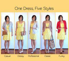 creëer 5 x een verschillende uitstraling met hetzelfde jurkje