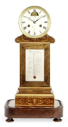 A mid 19th century French rosewood and boxwood mantel clock with thermometer by Legrand Freres et Cie