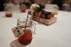 Mason jar drinks with twine and tags.
