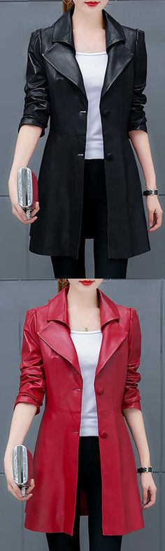 Women's Plus Size Casual/Daily Simple Fall Leather Jacket,Solid Shirt Collar Long Sleeve Long PU Jacket