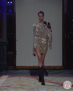 Golden Silver Evening Mini Dress / Short Dress with High Neckline and Long Sleeves. Fall Winter 2020 / 2021 Ready-to-Wear Collection. Runway Show by Redemption.