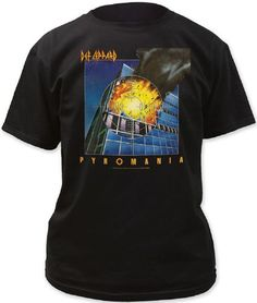 36b883fa Def Leppard Album Cover Artwork T-shirt - Pyromania. Men's Black Shirt