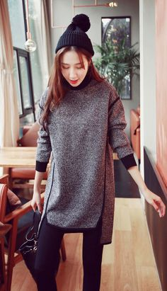 Fashiontroy Street style long sleeves gray asymmetric fleeced mini dress