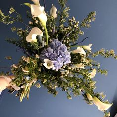 Blue Flowers Bouquet, Floral Wreath, Wreaths, Spring, Decor, Decoration, Decorating, Door Wreaths, Dekorasyon