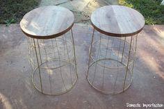 Great for outdoor patio! The post Tomato Cage Tables 2019 appeared first on Patio Diy. Patio Side Table, Diy Outdoor Table, Diy Patio, Diy Table, Patio Ideas, Rustic Outdoor Side Tables, Outdoor Decor, Outdoor Projects, Backyard Ideas