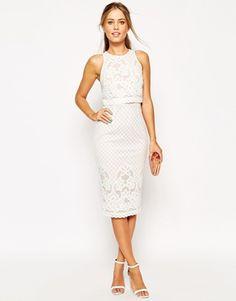 Кружевное платье-футляр миди с укороченным топом ASOS
