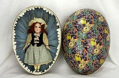 Antique German Bisque Head Easter Doll,in Presentation Bunny Decorated Egg. ca1915