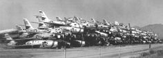 Stacks of Republic F-84F and F-84G Thunderstreaks at Davis-Monthan AFB awaiting scrapping in November, 1958