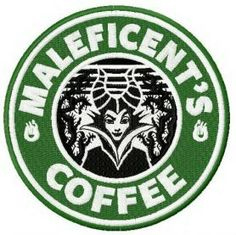 Maleficent's coffee machine embroidery design. Machine embroidery design. www.embroideres.com