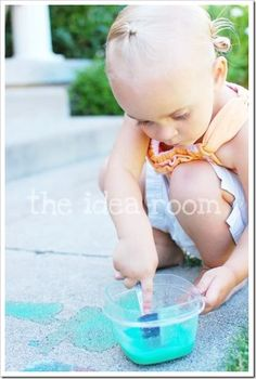 Sidewalk Chalk Paint using cornstarch, water and food color.