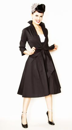 Rockabilly Girl by Bernie Dexter**Black Henrietta Swing Dress Coat - Unique Vintage - Bridesmaid