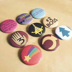 Mystery Twins Button Set - Mabel Dipper Pines Grunkle Stan Bill Cypher - Handmade - Gravity Falls Jewelry $11.25