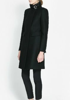 Black Buttons Collarless Long Sleeve Wool Coat