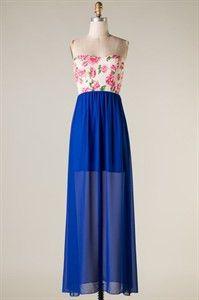 Royal Blue Floral Print Maxi - shopthreelittlebids