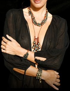 Mignot Saint-Barth  Tahitian Pearls I like the shape of the longer necklace (but no leather)