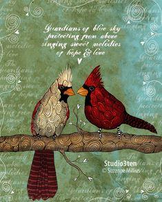 King and Queen / Cardinals / original illustration by studio3ten