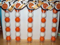 12 Basketball Themed Gumball Favor Tubes by SweetlyIntoxicating, $30.00 MUST BE IN PARTY BAG ORANGE AND BABY BLUE