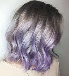 Reverse grey to pastel purple hair Silver lob with lilac highlights