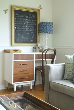 living room desk corner with new to me midcentury desk and bentwood chair