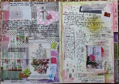 Art journal mixed media page --- very full, heavy with incredible texture & very beautiful