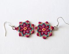 Macrame mandala flower earrings boho hippie pink by KnottedWorld