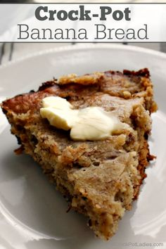 Crock-Pot Banana Bread Crock-Pot Banana Bread – A moist and delicious recipe for Crock-Pot Banana Bread that is the perfect use for over ripe bananas. Whip up a batch today for a yummy sweet treat! Crock Pot Banana Bread Recipe, Ripe Banana Recipe, Banana Bread Recipes, Crock Pot Bread, Crock Pots, Slow Cooker Recipes Dessert, Crock Pot Desserts, Easy Desserts, Cooking Recipes