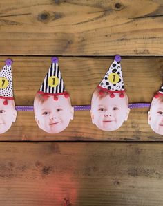 https://www.hiphiphooray.com/video-printables/handmade-printable-party-hat-baby-photo-bunting/  Adorable handmade baby's first bunting using photos - Simple DIY video tutorial showing how to make this easy craft project for your baby's birthday party. Cute party hats template which you can personalise online and download a printable PDF is included.   These decorations will have all your friends and family talking and is a great ice breaker at your celebration.