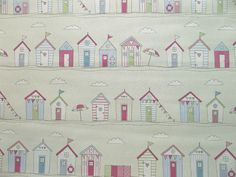 """Oh what to make ... ?  Fryett's""""Beach Huts"""" Pink Vintage Seaside Themed 100% Cotton Fabric"""