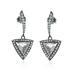 Trilliant Cut Diamond Drop Earrings from Hatton Jewels