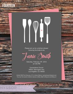 for the bride who loves to bake! bridal shower invite by hyssop design