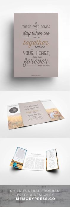 Child funeral service program design, Customised by a professional Graphic Designer for only $99.90. Designed by Memory Press, available at memorypress.co
