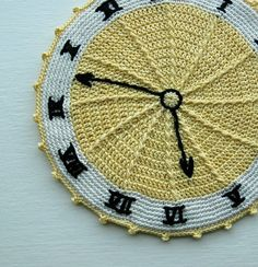 Vintage Clock Face Crochet Pot Holder