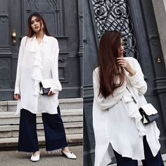 Get this look: http://lb.nu/look/8676123  More looks by Thao Nhi Le: http://lb.nu/thaonhile  Items in this look:  Zara Volant Shirt, Asos White Pumps, Ame Moi  Molly Monochrome Bag   #chic #minimal #street #romantic #volant #monochrome