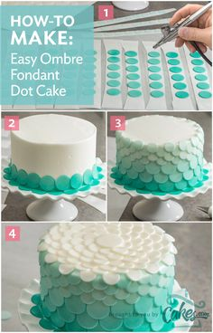 Airbrush each layer of fondant dots slightly lighter than the previous layer to create an amazing ombre cake. More