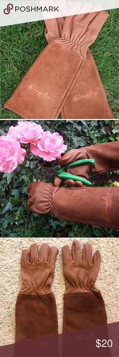 Exemplary Gardens Rose Pruning Gardening Gloves *Thorn Proof SuGoatskin Long Leather Gardening Gloves 2 Protect ur Arms 2 Elbow *100% natural premium goat grain ensures puncture resistance keeping your hands safe & blood-free from scratches *Extended split suede cuff prevents cuts on the arms  *Pliable and flexible enough to maintain dexterity for fine motor tasks such as planting seeds *Buttery soft texture due to lanolin acts to moisturize hands *EUC worn once have a tiny bit of dirt as…