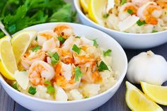 Shrimp Scampi Risotto {Gimme Some Oven} - 5 stars Tagine Recipes, Risotto Recipes, Veggie Recipes, Seafood Recipes, Dinner Recipes, Easy Recipes, Parmesan Risotto, Mackerel Recipes, Scampi
