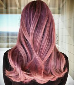 20 Flirty Pink Hair Ideas for You - Hair - Hair Pastel Hair, Purple Hair, Ombre Hair, Wavy Hair, Dark Pink Hair, Long Pink Hair, Cabelo Rose Gold, Coloured Hair, Cool Hair Color