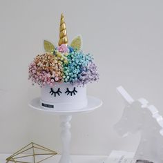unicorn pastel rainbow baby's breath bouquet