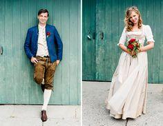 Süße Hochzeit in Tracht auf einem Weingut in Österreich