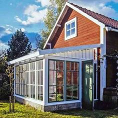 Garden Structures, Outdoor Structures, Skylight Glass, Swedish Cottage, Greenhouse Shed, Red Houses, Hot House, Outdoor Rooms, Outdoor Decor
