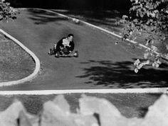 Elvis riding his new go-kart at Graceland in october 12 1965.