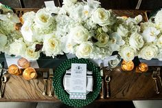 Obsessed with the emerald and white!!  Read More: http://www.stylemepretty.com/illinois-weddings/boarding-house-chicago/2013/12/18/emerald-inspired-photo-shoot/