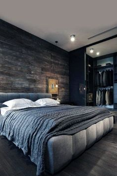 Modern Bedroom Design For Men Bachelor Bachelor Pad Decorating Ideas. 100 Bachelor Pad Living Room Ideas For Men Masculine Designs. Best Gallery Images for Your Reference and Informations Gray Bedroom, Trendy Bedroom, Home Decor Bedroom, Modern Bedroom, Bedroom Furniture, Dark Furniture, Bedroom Apartment, Bedroom Wall, Furniture Design